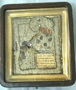 Antique Russian Beaded Embroidered Riza Icon Painting Original Box Wood Frame