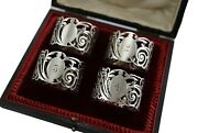 Antique Sterling Silver - Set Of 4 Finnigans Napkin Rings - Boxed - 1918