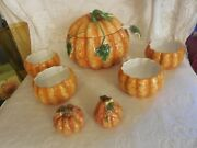 Pumpkin Tureen With Lid, Ladle, 4 Individual Bowls And Salt And Pepper Shakers.