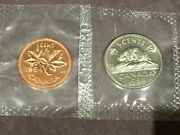 Set Of 2-1964 Canadian One Cent And Five Cents Coin P/l Sealed From The Set.