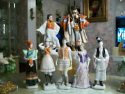 Hungary-hungarian=2--herend Figurine--5-pieces-hollohaza-figurines=all Mint-cond