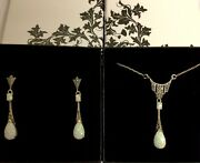 Antique Style Sterling Silver Opal Marcasite Pear Drop Necklace With Earrings