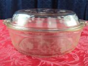 Ultra Rare Pyrex Clear Glass Roasting Dish With Floral Etched Design W/pie Plate