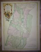 Holy Land 1763 Delisle Lattre Very Large Antique Map 18th Century In Colors