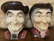 """Royal Copley Old Colonial Couple Toby Head Wall Pocket Head Vase Vintage 8"""" Tall"""