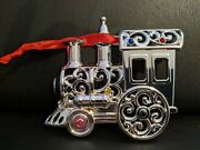 Lenox Bejeweled Train Christmas Ornament - Silverplate W/ Multi Colored Crystals