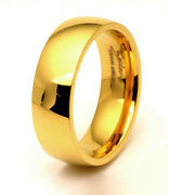 6mm Traditional Titanium Wedding Band Ring Classic Yellow Gold Plated Comfortfit