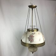 """Vintage Leviton Hanging Ceiling Lamp Fixture Milk Glass Hand Painted 14"""" Shade"""