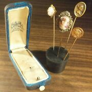 Four Cameo Stick Pins + Box. Gibson Girl Pioneer Gold Plated Coin/charm/exonumia