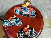 Vintage Haji Motorcycle Japan Friction West Germany Lot Of Motorcycle Tin Toy...
