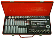 T And E Tools 56 Piece 3/8 Drive Sae And Metric Socket Set 6 Point93656