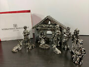 Christmas Nativity Set Of 11 Intand039l Silver Co Manger And Figurines W/ Original Box