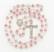 Double Capped Pink Crystal Sterling Silver Rosary Baroque Crucifix