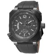Gv2 By Gevril Xo Submarine Watch 4524 Gmt Black Ip Steel Limited Edition Leather