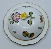 Herend Butter Server Covered Dish Hand Painted Floral Hungary Market Garden