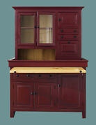 Large Pine Hoosier Cabinet,usa Made Antique Reproduction, Antique Red And Honey