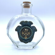 Vintage Holy Water Bottle With Big Cross, 25 Turquoise Color Stones And Cork Lid