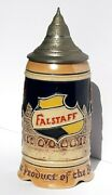 Vintage Falstaff Beer German Stein With Music Box And Pewter Lid