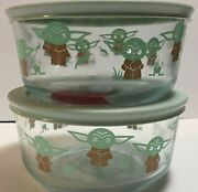 Set Of 2 New Star Wars Baby Yoda Glass Pyrex Food Storage Containers Mandalorian