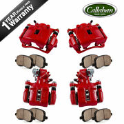Front+rear Red Brake Calipers And Ceramic Pads For Acura Rsx Honda Civic