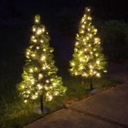 2 Pack - 3 Ft. Tall Led Lighted Pathway Christmas Trees - White Lights - Battery