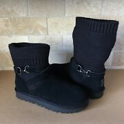 Ugg Purl Knit Strap Suede Black Convertible Short Ankle Boots Size 7 Womens