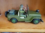 Vintage 1960and039s Nomura Tn Battery Operated U.s. Army Combat Jeep Tin Toy Car