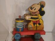 1941 Vintage Fisher Price Mickey Mouse Drummer Disney Pull Toy 476 Wooden Rare