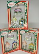 50's Vintage Style Glass Ornaments By Bradford Novelty Co 2003 Iob 3 Sets Of 3
