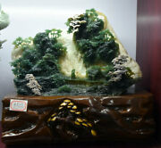 12.8 Natural Green Xiu Jade Hand Carved Tree People House Mountain Water Statue