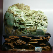 12.4 Good China Natural Dushan Jade Carved Tree People Pavilion Mountain Statue