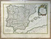 Spain Portugal 1762 Jean Janvier Large Antique Engraved Map In Colors