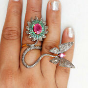 2.76ct Natural Antique Rose Cut Diamond Emerald Ruby New Year Party Wear Ring