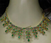 Gorgeous Silver Antique Rose Cut 4.14ct Diamond Emerald Victorian Style Necklace