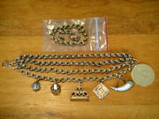 Antique Victorian 14k Gold Charm Bracelet Made From A Watch Chain And Fobs
