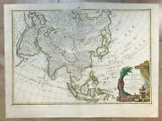 Asia 1762 Jean Janvier Large Antique Engraved Map In Colors 18th Century