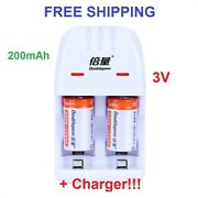 2pcs New Rechargeable Battery Cr2 3v 200mah + Smart Charger Batteries For Camera