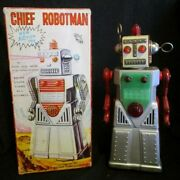Yoshiya Chief Robot Man Battery Operated Tin Action Toy Made In Japan 3406