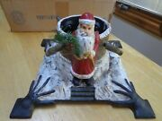 Vintage Heavy Cast Iron Christmas Tree Stand W/father Christmas And Tree