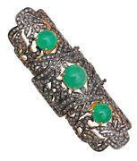4.28ct Antique Rose Cut Diamond Vintage Emerald Knuckle Party Ring Free Shipping