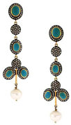 2.92ct Antique Rose Cut Diamond Pearl Turquoise Dangle New Year Party Earrings