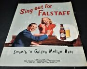 Fallstaff Beer Bottle Sing Out For Falstaff 1952 Song Sheet Music Ad St Louis