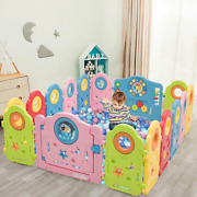 Kid Activity Center Playpen 16 Panel Baby Gate Fences Indoor Foldable Play Yard