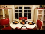 Vintage Red Andwhite 50's Diner Style Dining Room Set With Cabinets