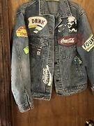 Rare Vintage Graphic Jean Jacket L With Coca Cola Fountain Drink Ads
