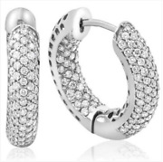 2.39ct Real Diamond Hoops Pave Earrings14k White Gold For Christmas Gift