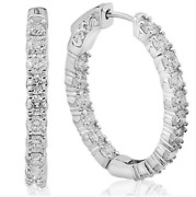3.79ct Real Diamond Round Cut Hoops Earrings 14k White Gold For Christmas Gift