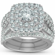 3ct Real Diamond Double Cushion Halo Trio Ring 14k White Gold For Christmas Gift