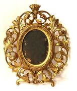 Antique 1900s Rococo Style Floriated Gold Gilt Cast Iron Oval Picture Frame 225
