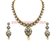 Attractive Hand-made Antique Rose Cut Diamond 14.74ct Polki Silver Necklace Set